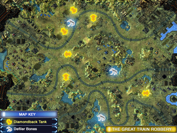 The six Diamondback locations from starcraft II on the mission The Great Train Robbery